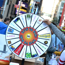 A prize wheel at the 2012 Broadway Flea Market.