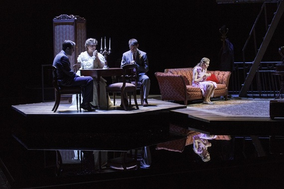 Zachary Quinto, Cherry Jones, Brian J. Smith, and Celia Keenan-Bolger in <i>The Glass Menagerie</i>.
