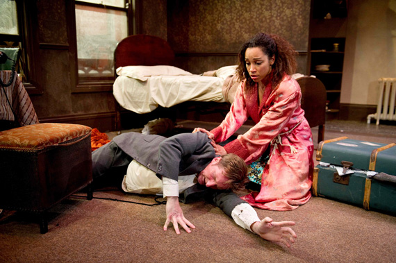 Adrian Dunbar and Samantha Pearl in <I>Brendan at the Chelsea</I>.