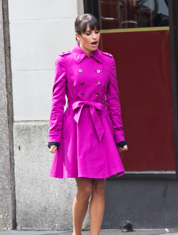 Lea Michele films a <i>Glee</i> musical number on West 44th Street.