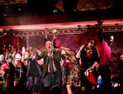 A packed stage at 54 Below for <I>The Joe Iconis Christmas Spectacular</I>.