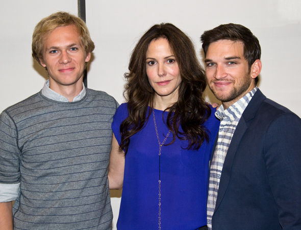 Mary-Louise Parker leads the company as the widowed Elizabeth Gaesling. Brian Cross (left) and Evan Jonigkeit (right) play her two sons.<br />(© David Gordon)