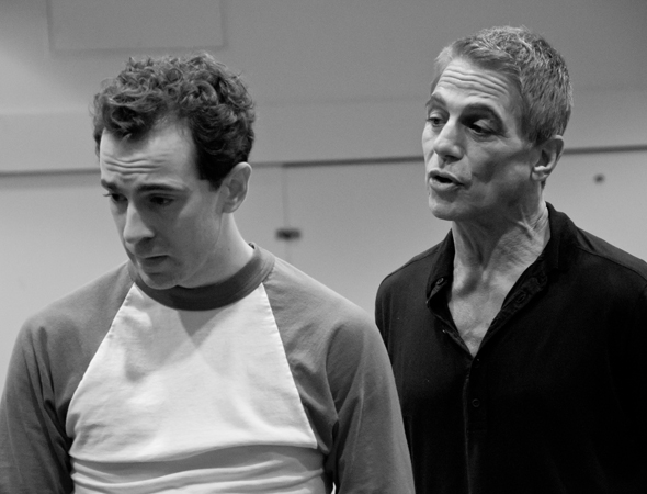 Tommy Korman (Tony Danza) gives Jack Singer (Rob McClure) an ultimatum.<br />(© David Gordon)
