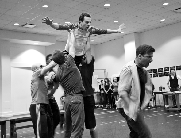 The Elvises teach Jack Singer (Rob McClure) how to fly.<br />(© David Gordon)