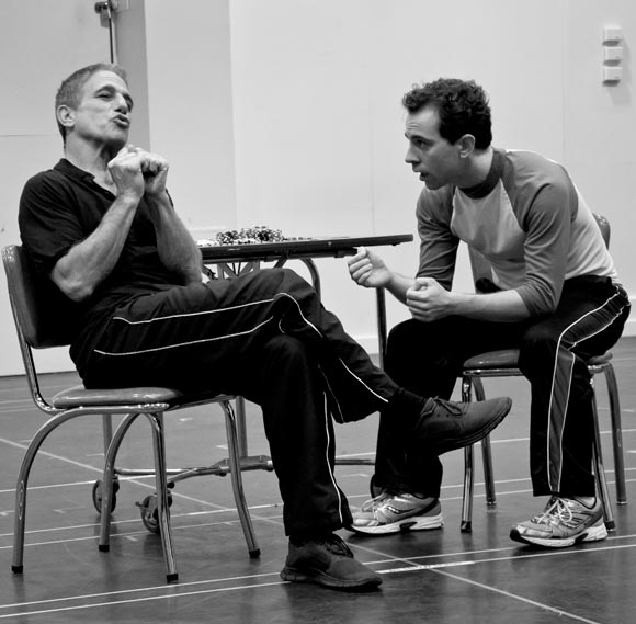 Tony Danza and Rob McClure rehearse a scene from <i>Honeymoon in Vegas</i>.