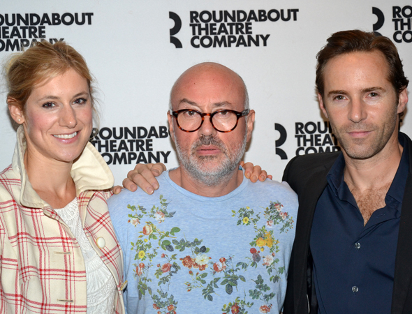 Charlotte Parry (left) and Alessandro Nivola (right) flank their <i>Winslow Boy</i> director, Lindsay Posner.<br />(© David Gordon)