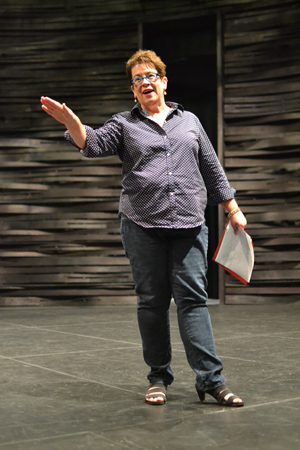 Arena Stage Artistic Director Molly Smith addresses the cast, creative team, and staff members at the first rehearsal of <i>Love in Afghanistan</i>.<br />(© Arena Stage)