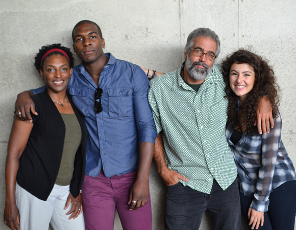 The cast of <i>Love in Afghanistan</i> (L to R): Dawn Ursula, Khris Davis, Joseph Kamal,and Melis Aker.<br />(© Arena Stage)