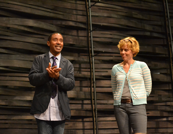 Playwright Charles Randolph-Wright and director Lucie Tiberghien address the cast and crew.<br />(© Arena Stage)