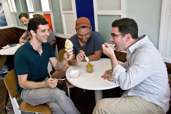 Michael Urie, Stephen Brackett, and Jonathan Tolins enjoy their Big Gay Ice Cream.