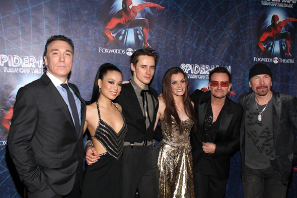 <i>Spider-Man: Turn Off the Dark </i> stars Patrick Page, T.V. Carpio, Reeve Carney, and Jennifer Damiano join composer-lyricists Bono and The Edge for a photo.<br />(© Tristan Fuge)