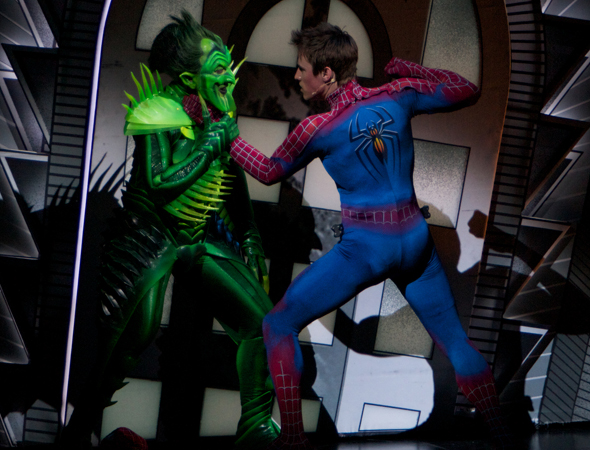Reeve Carney as Spider-Man defeats the Green Goblin.<br />(photo courtesy of the production)