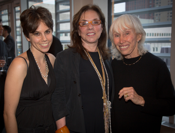 2013 winner Jen Silverman with the judge of this year's competition, Pulitzer Prize-winning playwright Marsha Norman, and Francine Horn of the David Horn Foundation, which underwrites the competition.<br />(© Harvey Wang)