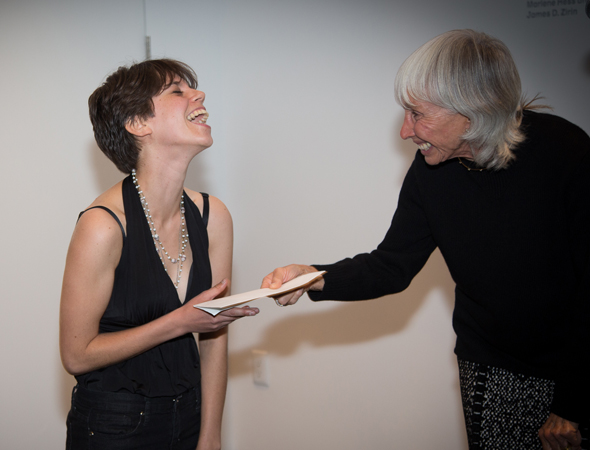 Francine Horn presents the ten-thousand-dollar award from the David Charles Horn Foundation to 2013 recipient Jen Silverman.<br />(© Harvey Wang)