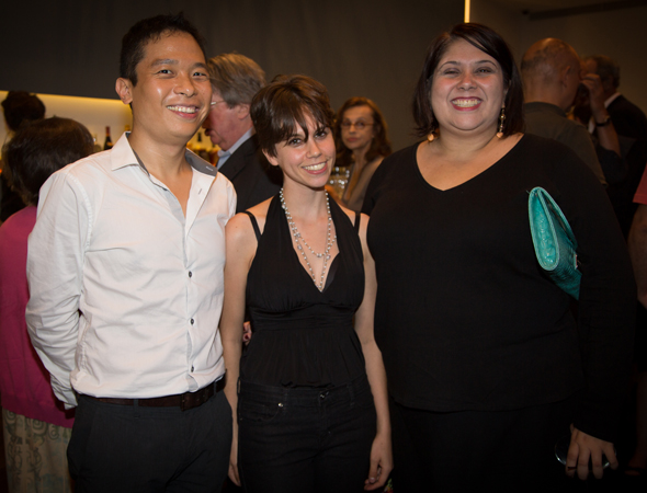 Jen Silverman is flanked by two past recipients of the Yale Drama Series: Clarence Coo, who won last year's prize for his play <i>Belle Province</i>, and Virginia Grise, who won in 2010 for her play <i>blu</i>.<br />(© Harvey Wang)