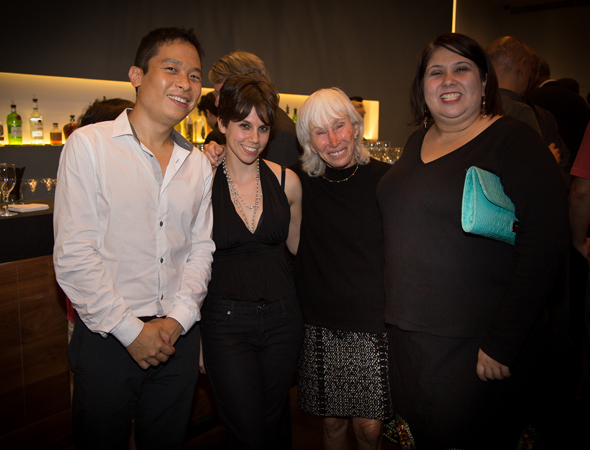 The three playwrights with Francine Horn.<br />(© Harvey Wang)