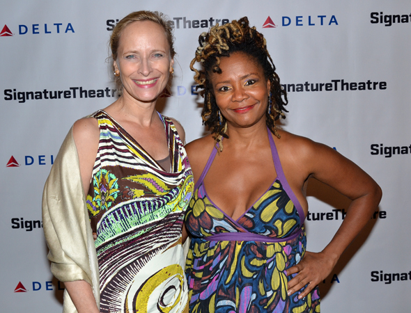 Signature Theatre Company veterans Laila Robins and Tonya Pinkins celebrate the opening of <i>The Old Friends</i>.<br />(© David Gordon)