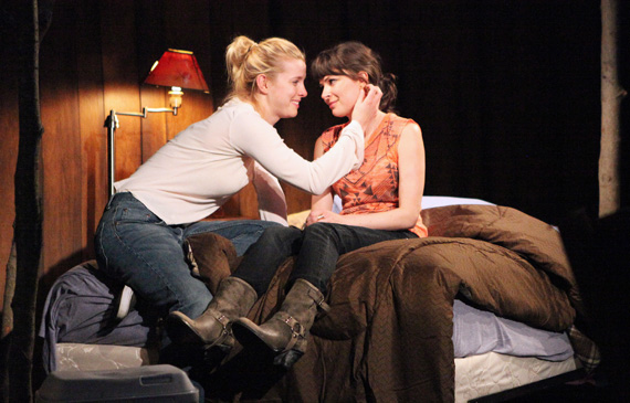 Girls about to kiss on stage: Betty Gilpin and  MacKenzie Meehan in <I>Where We're Born</I>, the third play in Lucy Thurber's <I>The Hill Town Plays</I> cycle.