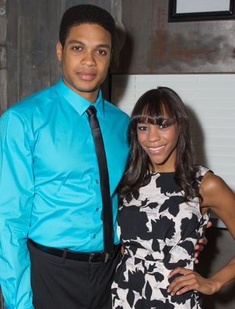 Nikki M. James and Ray Fisher smile for TheaterMania.<br />(© Seth Walters)