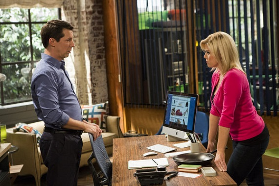 Sean Hayes and Megan Hilty on <i>Sean Saves the World</i>.