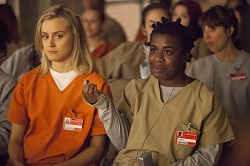 Taylor Schilling with Uzo Aduba on <i>Orange Is the New Black</i>.