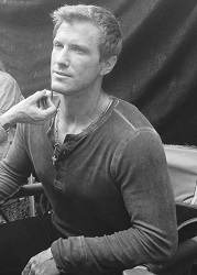 Patrick Heusinger getting into makeup for <i>Revolution</i>.
