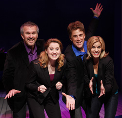 George Dvorsky, Christiane Noll,  Sal Viviano, and Jenn Colella in <i>Closer Than Ever</i>