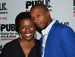 Uzo Aduba with Leslie Odom Jr. at an event celebrating the Public Theater production of <i>Venice</i>.
