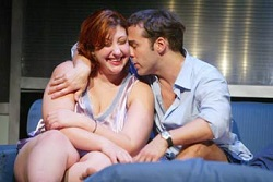 Ashlie Atkinson with Jeremy Piven in the MCC Theater production of <i>Fat Pig</i>.