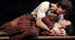 Pablo Schreiber with Carla Gugino on Broadway in <i>Desire Under the Elms</i>.