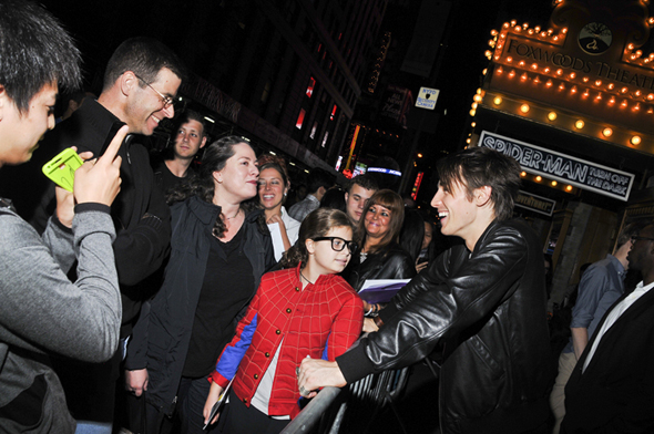 Reeve Carney greets fans at the stage door one last time.<br />(© Jenny Anderson/SPIDER-MAN Turn Off The Dark)