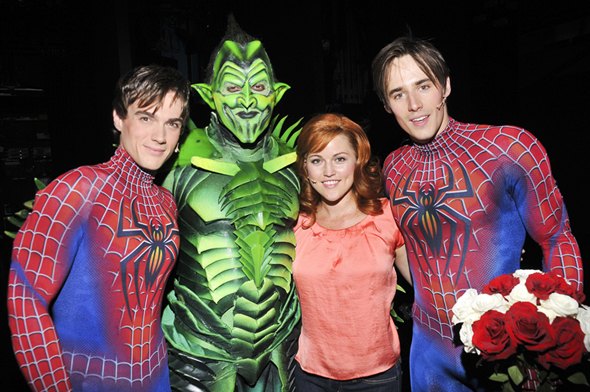 Justin Matthew Sargent (left) and Reeve Carney (right) flank costars Robert Cuccioli and Rebecca Faulkenberry.<br />(© Jenny Anderson/SPIDER-MAN Turn Off The Dark)