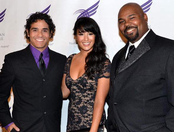 The stars of Disney's upcoming Broadway musical adaptation of <i>Aladdin</i>: Adam Jacobs, Courtney Reed, and James Monroe Iglehart.<br />(© David Gordon)