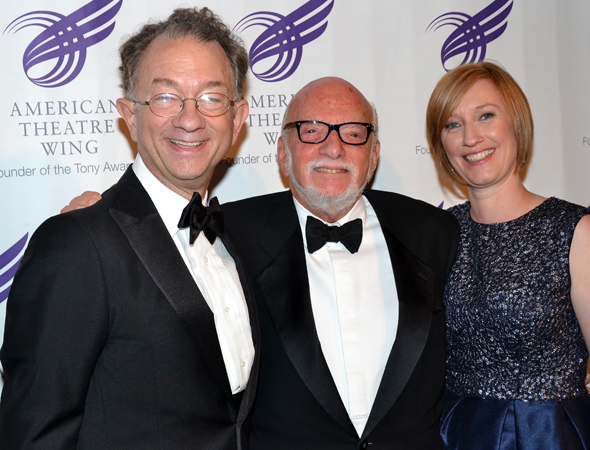 American Theatre Wing chairperson William Ivey Long and executive director Heather Hitchens flank the guest of honor, legendary director Harold Prince.<br />(© David Gordon)