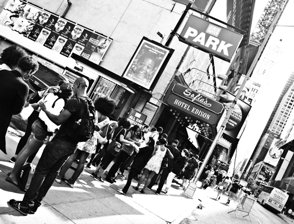 Potential auditioners lined 45th Street and snaked down to the middle of 8th Avenue.<br />(© David Gordon)