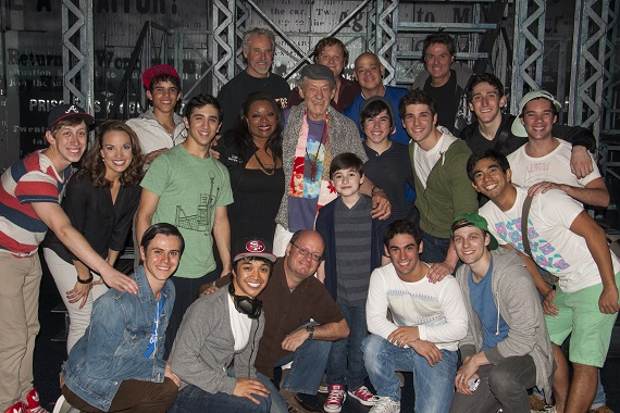 Sir Ian McKellen with the cast of Broadway's <i>Newsies</i>