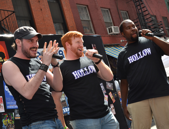 Cast members from the musical <i>Hollow</i> present a song from that production.<br />(© David Gordon)