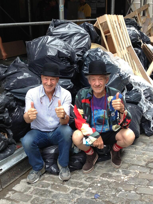 Sir Patrick Stewart, Sir Ian McKellen, and a pile of rubbish.