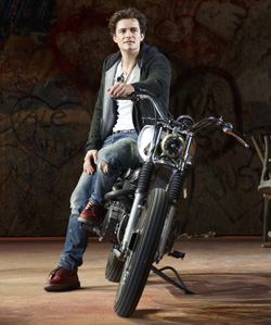 Orlando Bloom is Romeo, your motorcycle boyfriend.