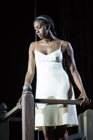 Condola Rashad looks down on her Romeo in the famous balcony scene.<br />(© Carol Rosegg)