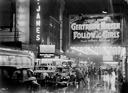 "Broadway marquee for the 1944 musical <i>Follow the Girls</i>, featuring ""I Wanna Get Married,"" but not the Nellie McKay version."
