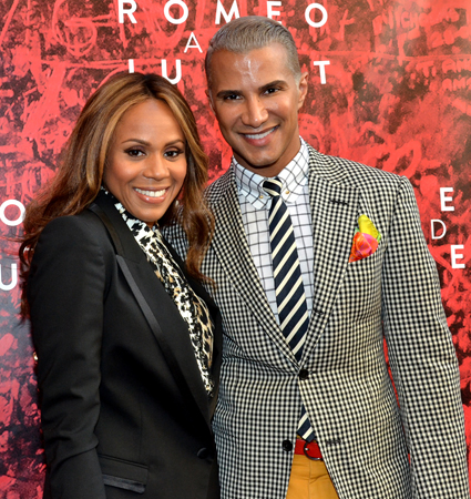 Recent <i>Jekyll & Hyde</i> star Deborah Cox attends the opening with her pal, makeup artist and television personality Jay Manuel.<br />(© David Gordon)