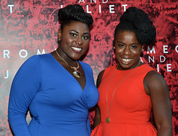 <i>Orange Is the New Black</i> stars Danielle Brooks and Uzo Aduba show off their opening night fashion.<br />(© David Gordon)