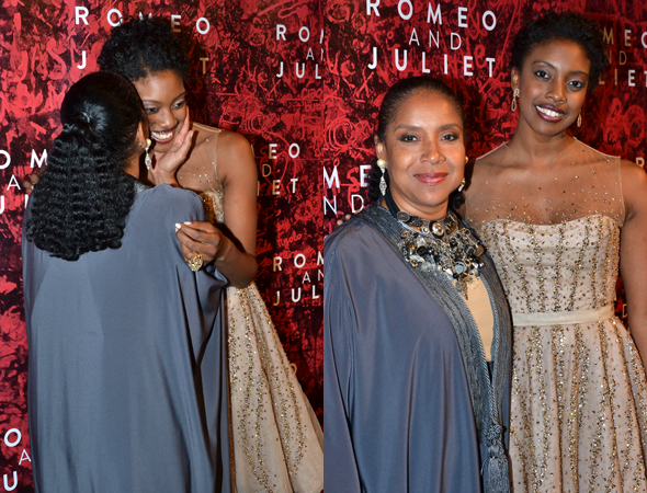 Proud mama Phylicia Rashad plants a kiss on her daughter Condola's cheek.<br />(© David Gordon)