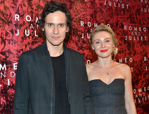 Christian Camargo, the production's Mercutio, spends the opening with his wife, actress Juliet Rylance.<br />(© David Gordon)