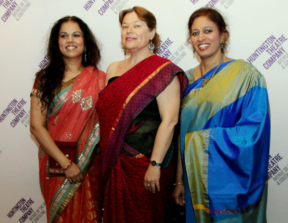 Orchestra members (L to R): Saraswathi Ranganathan (veena), Juli Wood (tenor and baritone saxophones), and Anuradha Sridhar (Carnatic violin).<br />(© Lia Chang)