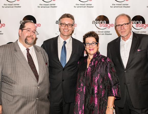 L to R: Larry Kaye of HOP Theatricals, LLC, playwright Eric Coble, Artistic Director Molly Smith, and Executive Producer Edgar Dobie <br />(© Cameron Whitman Photography)