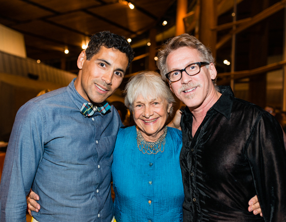 Lighting designer Rui Rita celebrates with Estelle Parsons and Stephen Spinella.<br />(© Cameron Whitman Photography)