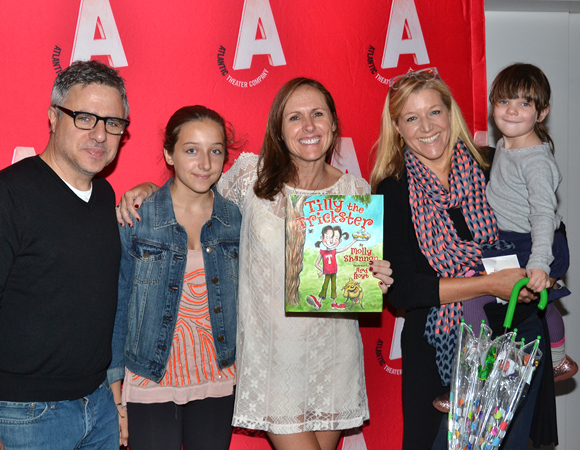 Molly Shannon (center) poses with Atlantic Theater Company head honchos Neil Pepe, Mary McCann, and their daughters.