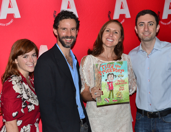 Molly Shannon (center) smiles alongside choreographer Alison Beatty, Jeremy Dobrish, and Drew Fornarola.